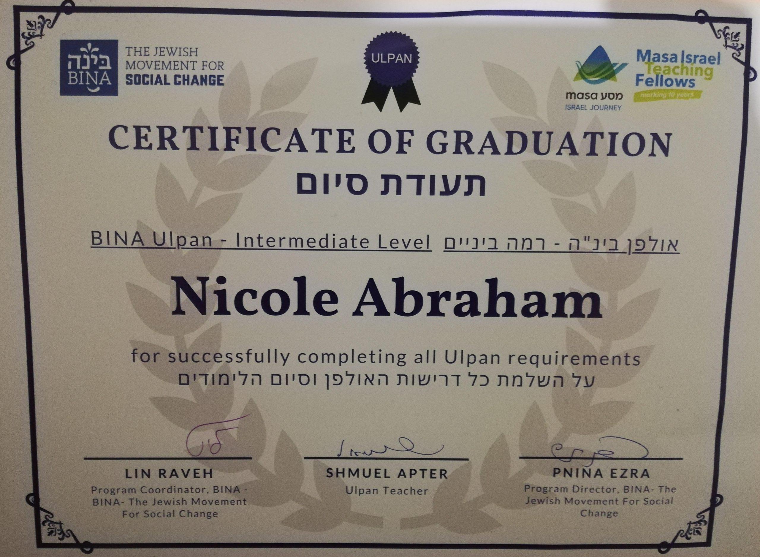 Nicole Abraham, participants blogs