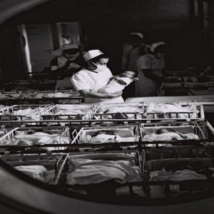 View of the maternity ward in the Hadassah medical center, 1945. Photo: KLUGER ZOLTAN, GPO